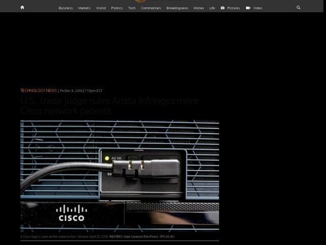 U.S. trade judge rules Arista infringes more Cisco network patents