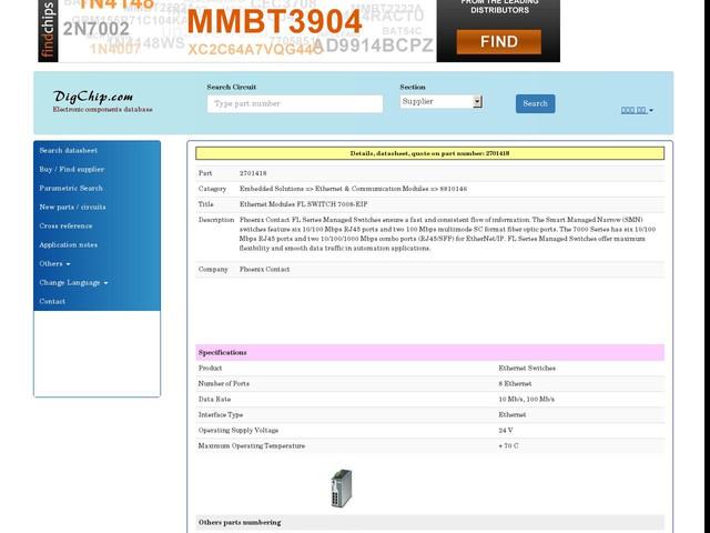 2701418: Ethernet Modules FL SWITCH 7008-EIP