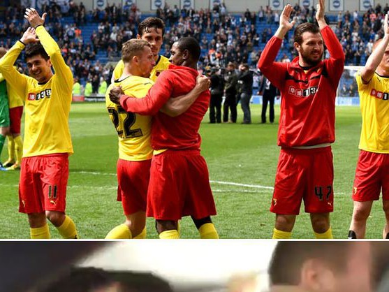 Video from Watford team bus captures the moment they become a Premier League team