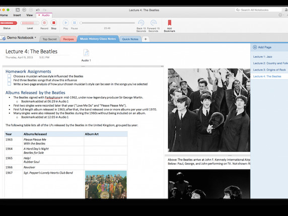OneNote For Mac Gets Support For Audio Notes
