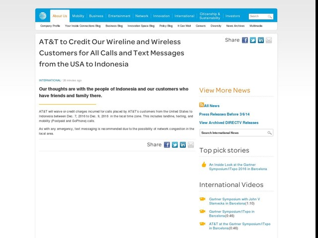 AT&T to Credit Our Wireline and Wireless Customers for All Calls and Text Messages from the USA to Indonesia