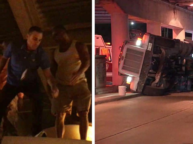 VIDEO: ABC13 reporter pulls driver from flipped cement truck in SW Houston