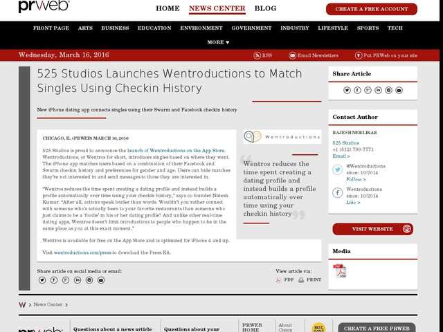 525 Studios Launches Wentroductions to Match Singles Using Checkin...