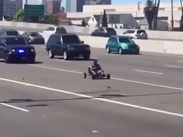 Video Shows Mystery Police Car Chasing Go-Kart on Busy Oakland Freeway