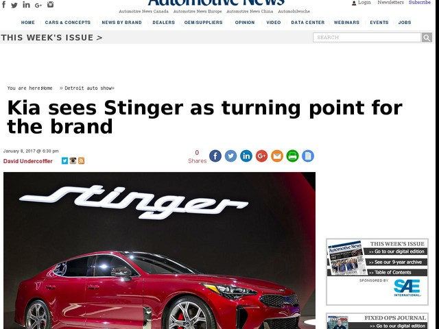 Kia sees Stinger as turning point for the brand