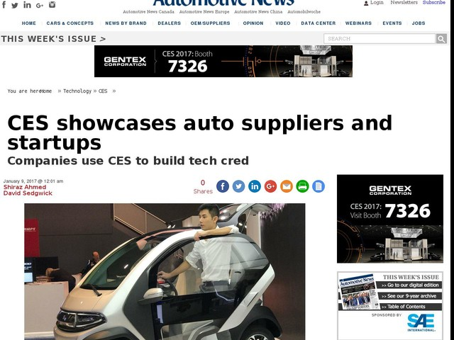 CES showcases auto suppliers and startups