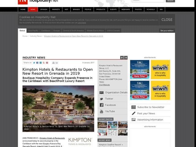 Kimpton Hotels & Restaurants to Open New Resort in Grenada in 2019